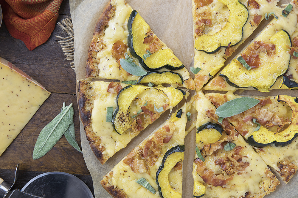 Pizza with Winter Squash, Pumpkin Spice & Pancetta