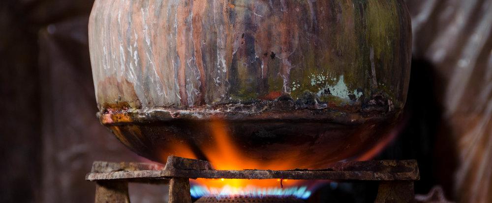 Heating the dye pot.