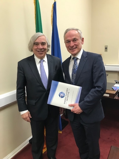Ernest Moniz with Richard Bruton, Ireland's Minister for Communications, Climate Action and the Environment at the Parliament House in Dublin.