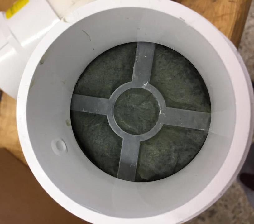 Sand filter cartridge bottom view.