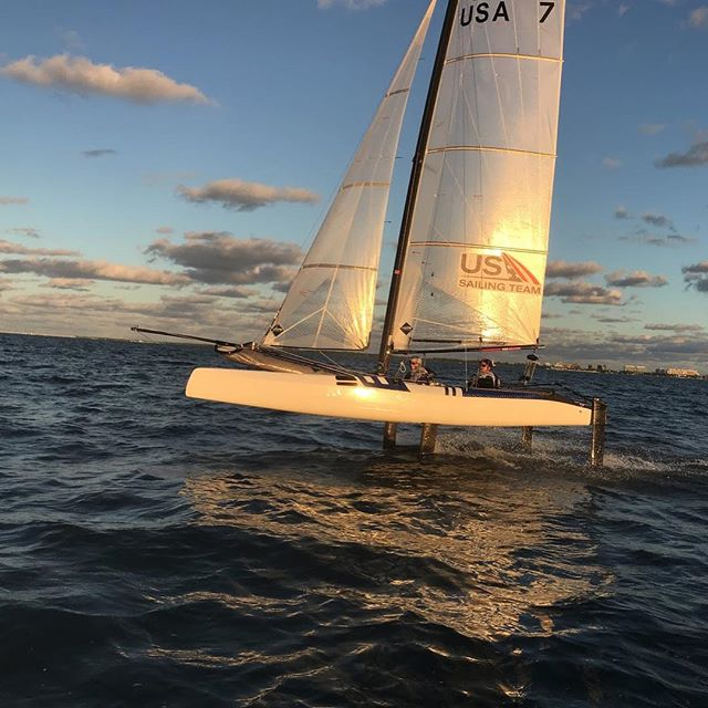 Sunset sailing on Biscayne Bay
