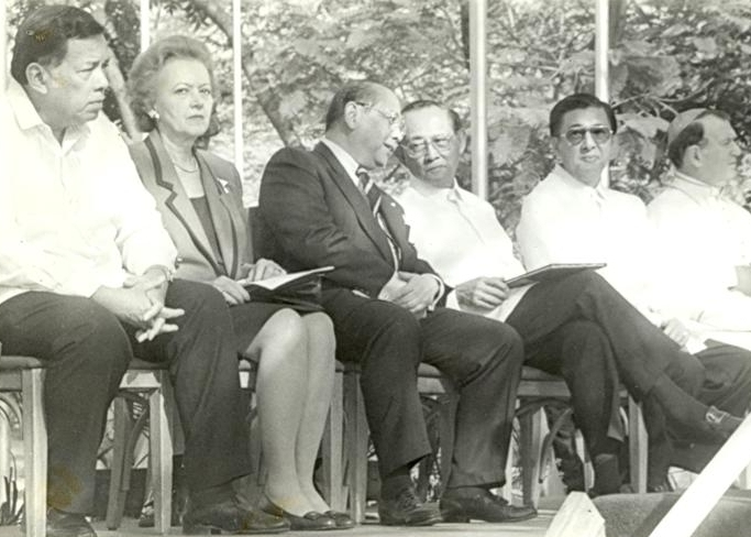 """- Quezon City Mayor Ismael Mathay, Beth Day Romulo, and former Foreign Affairs Secretary Roberto R. Romulo (from left) were among those who formally launched the foundation on January 15, 1996, at the Quezon Memorial Circle in Quezon City. Also present were President Fidel V. Ramos, Foreign Affairs Secretary Domingo Siazon, Jr., and Archbishop Gian Vinzenso Moreni, the apostolic nuncio and dean of the diplomatic corps. Siazon, who co-hosted the event together with the Romulo family, delivered a speech entitled """"The Asian Diplomat,"""" which touched on CPR's achievements in Philippine foreign affairs."""