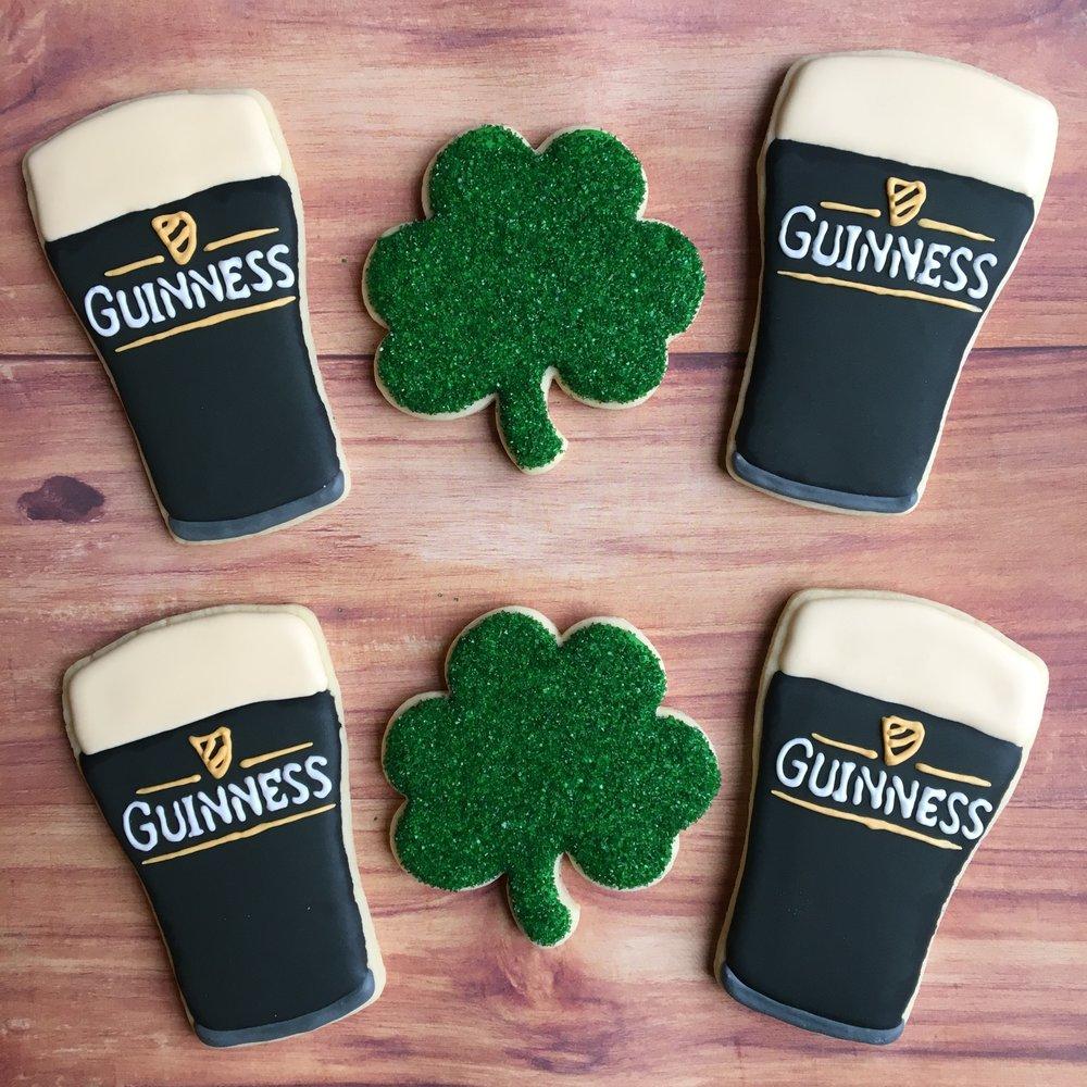 Custom St Patrick's Day Guinness Beer Sugar Cookies