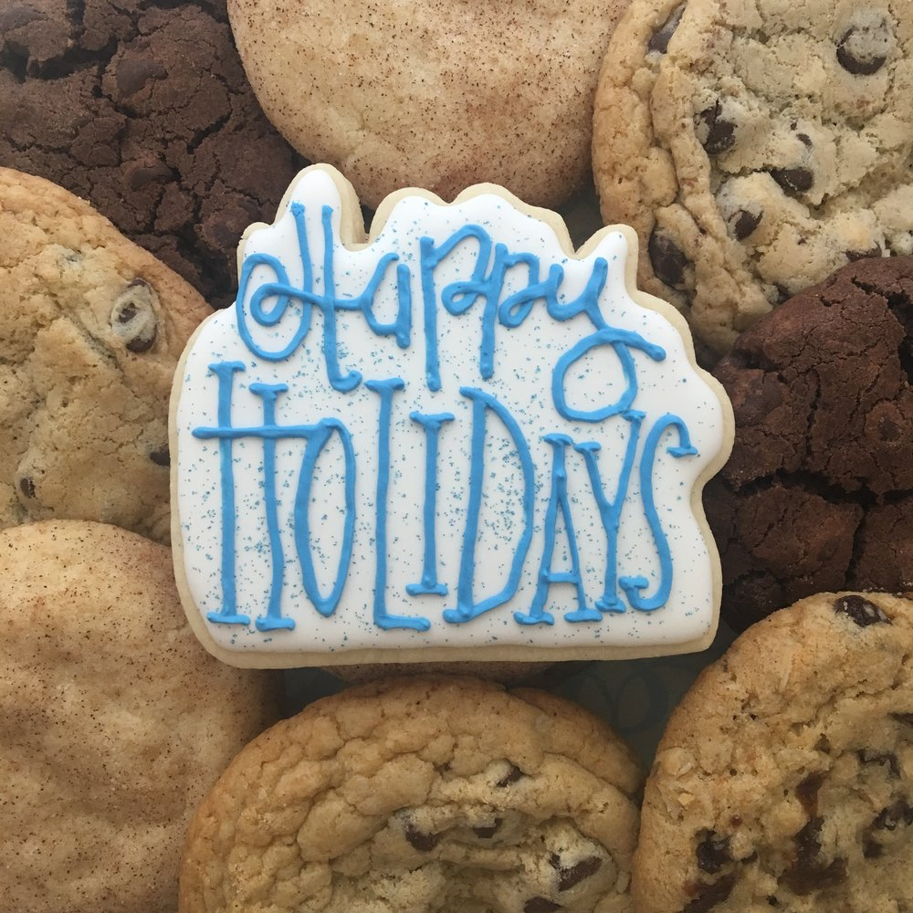 Happy Holidays Sugar Cookie with Chocolate Chip Cookies
