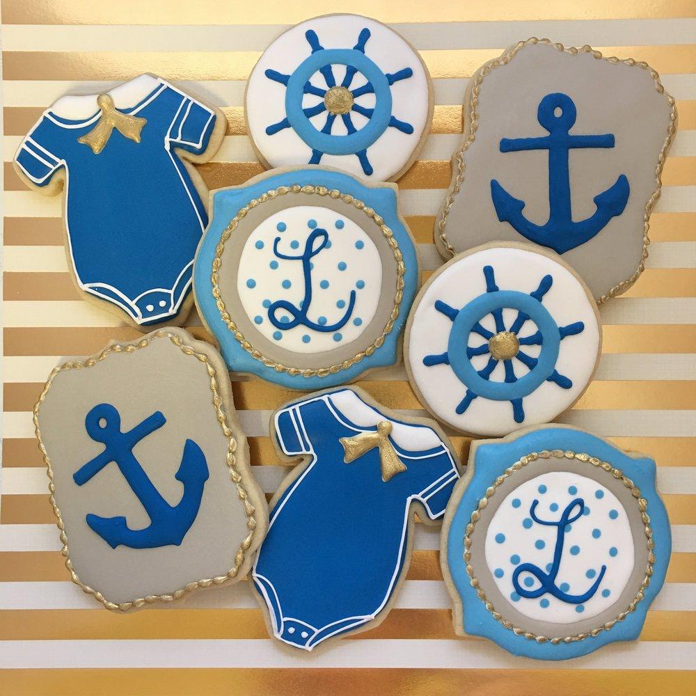 Sailor Boy Baby Shower Custom Cookies