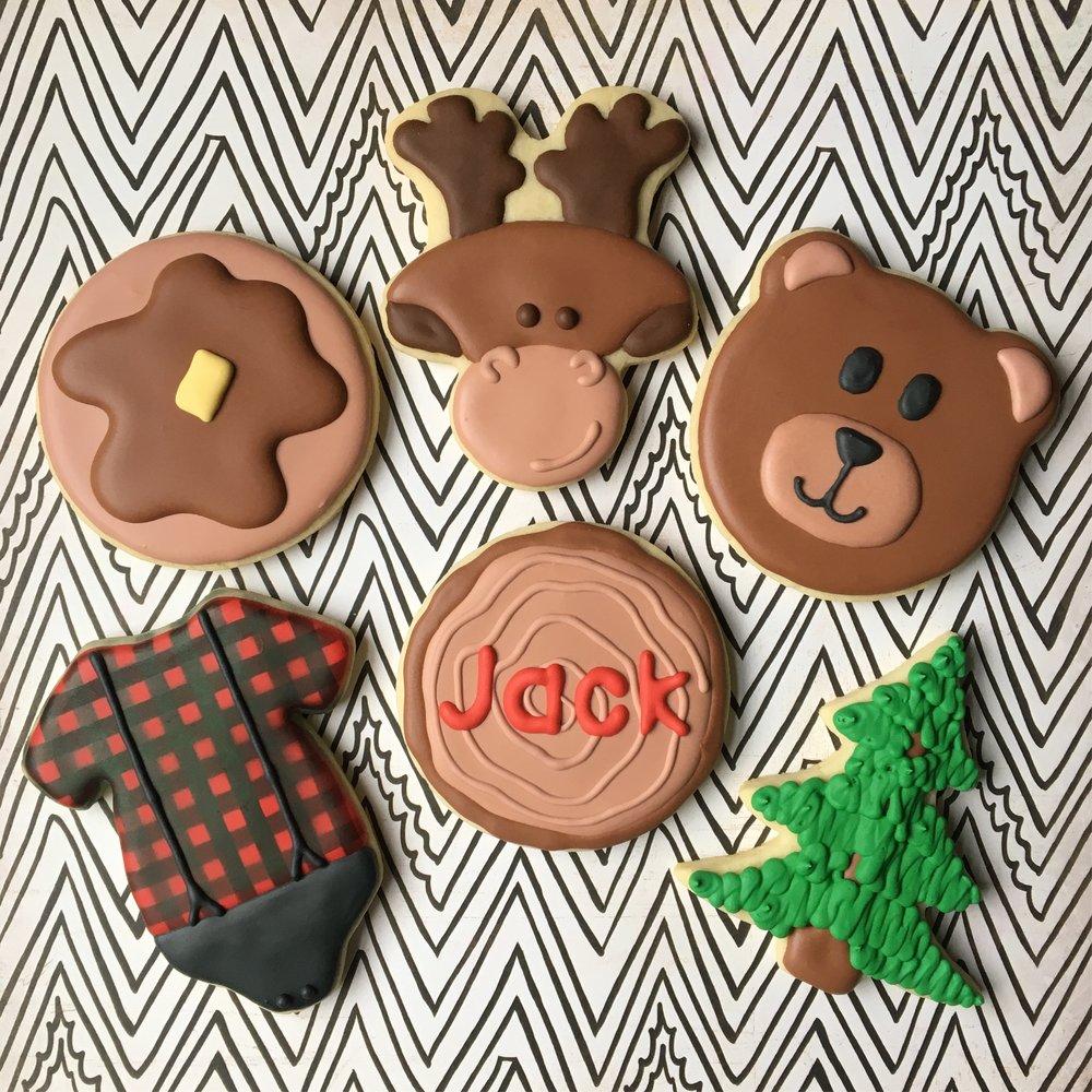 Custom Lumberjack theme Baby Shower Cookies