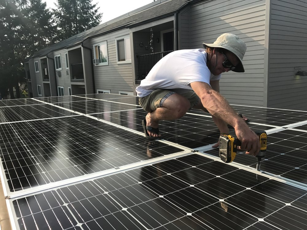 Wes solarizing a Tiny House in Oregon.