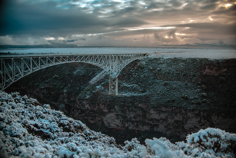 Rio Grande Gorge Bridge, New Mexico - We ended up spending two nights in Taos - mostly because we loved it so much (and had a SWEET room at the La Fonda Inn!) but also because it was snowing everywhere between Taos and Denver and camping wasn't super appealing.