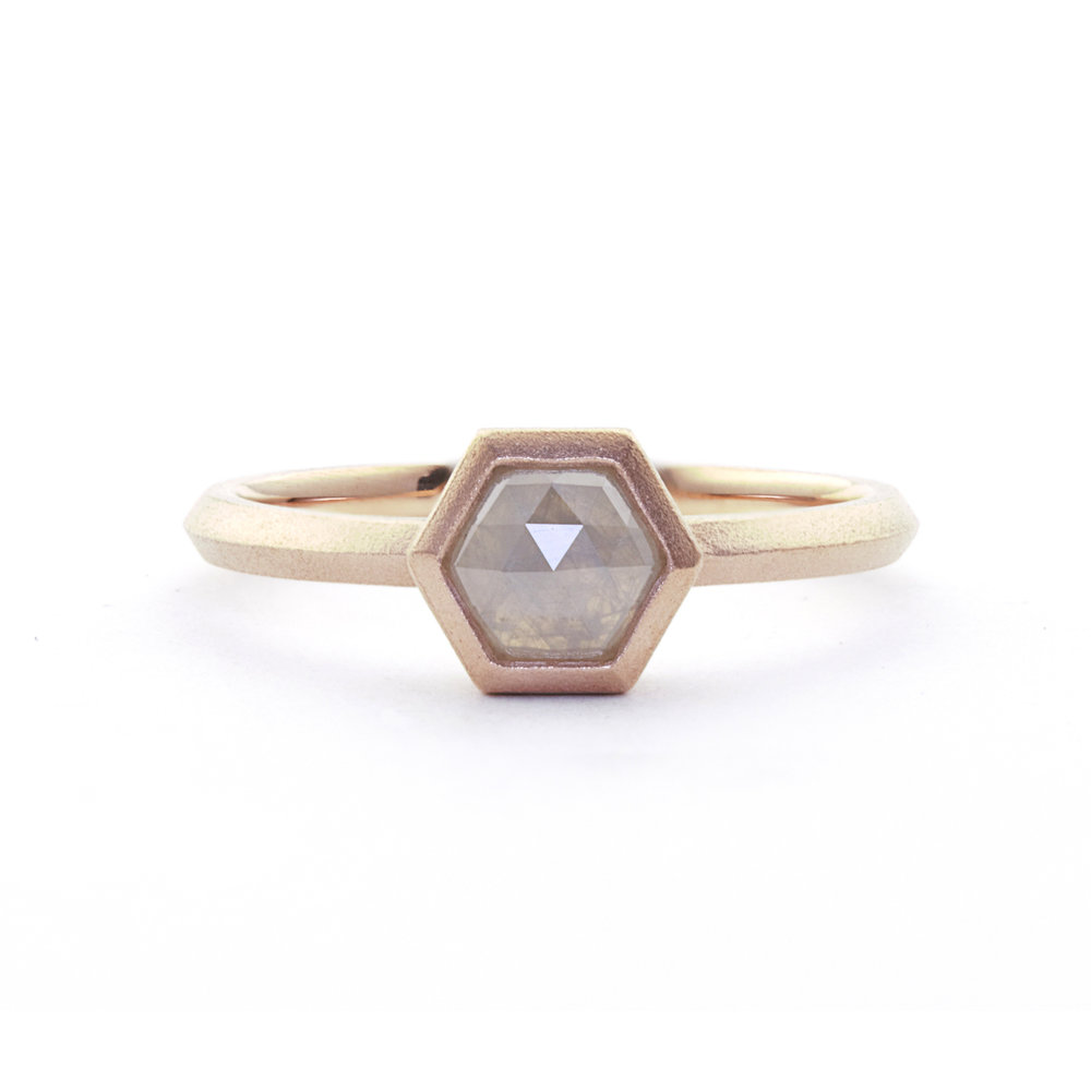 rose cut grey hexagon diamond solitaire