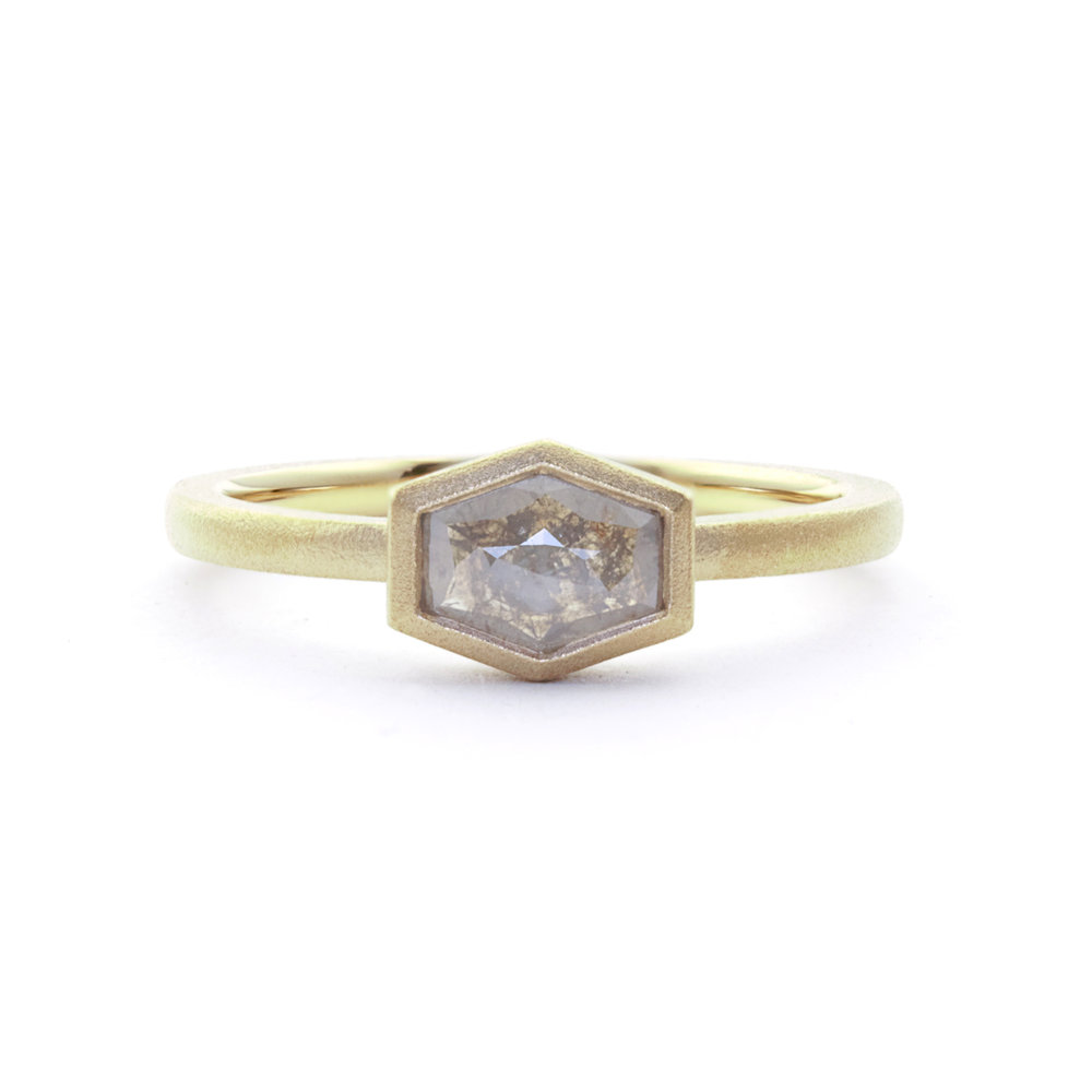 rose cut grey long hexagon solitaire