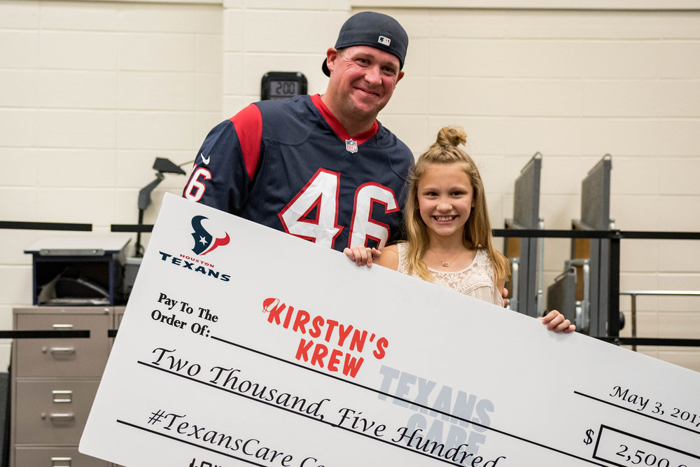 TexansCare 2017 donation! - Kirstyn won a $2500 donation from TexansCare with a surprise visit to her school from Jon Weeks and a giant check!