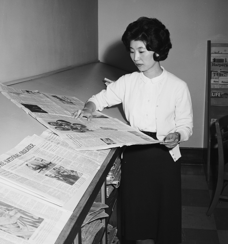 Jin Young Choi, a journalism student at UNC, April, 1962.