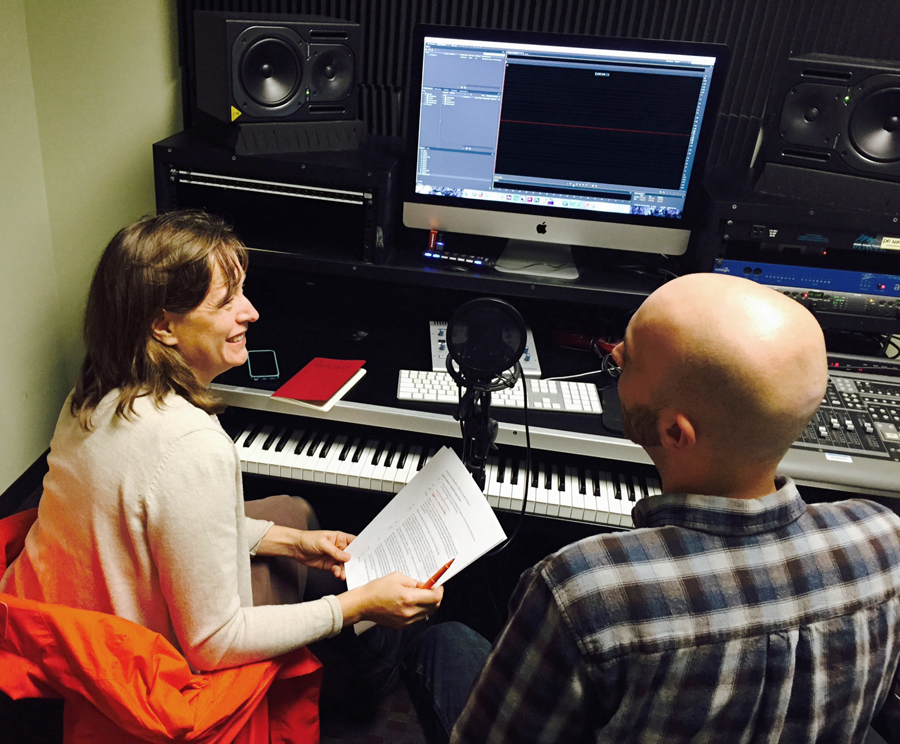 "Rachel F. Seidman, Ph.D., associate director, SOHP, works on a ""Press Record"" podcast. Courtesy the SOHP."