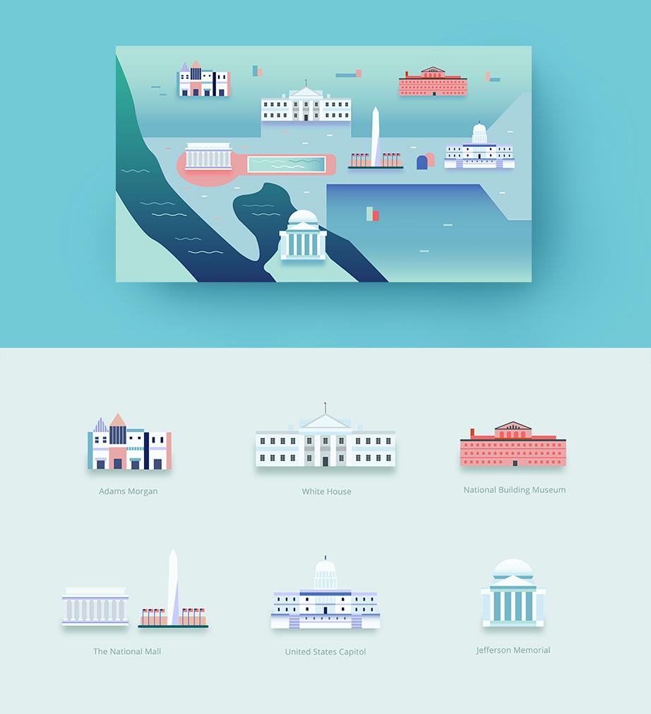 Washington VR Map, Digital Icon Illustration