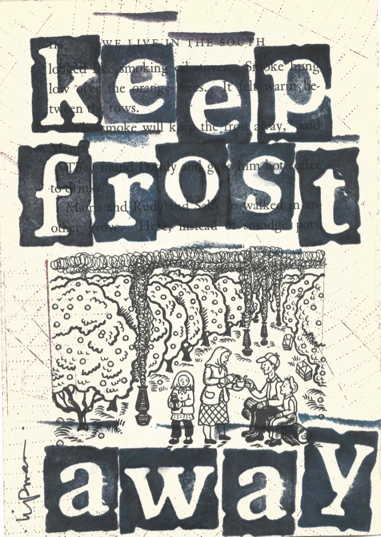 """Keep Frost Away"" appears in large, stamped letters over a page from a book. In the middle of the page is a black-and-white illustration of children in an apple orchard."