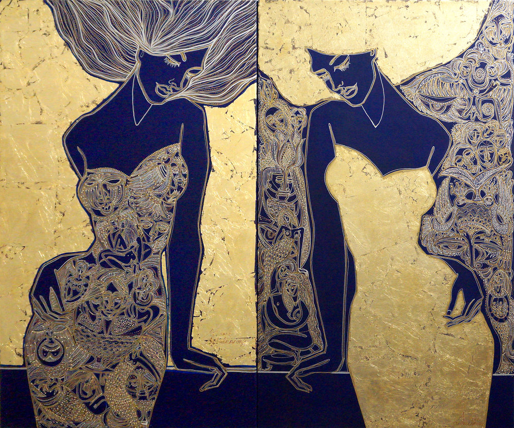 Image depicts the mirror images of two figures who appear to be women. The only differences between them are the patterns on their dresses, hair, and the background they stand in front of. The figure on the left has an intricately patterned gold and silver dress with similarly detailed hair. She stands in front of a background of gold leaf. The figure on the right wears a dress and hair of gold leaf and stands in front of an intricately patterned background. The base color of the painting and the people's skin is navy. The figures face one another.