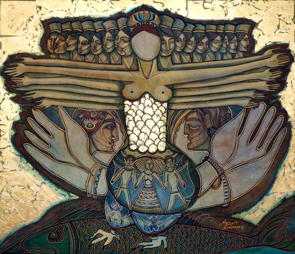 In the painting, a figure, who appears to be a woman, stands with outspread arms in front of many other women lined up in the Byzantine style of art. They appear to be goddesses, and the background looks like gold leaf. There are gold scales on the center figure's midriff, and where her feet would be are chicken feet. The scales of her midriff flow into a vase with other figures on it. She stands on a giant fish. and large hands open on either side of her.