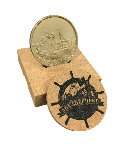 In celebration of our 40th Anniversary, this limited edition commemorative coin is made from the propeller of our flagship vessel, the M/Y Steve Irwin. Only a limited number available and for a short time – get hold of your very own piece of Sea Shepherd history.  Click here to find out more about our limited edition commemorative coin in  our e-store .