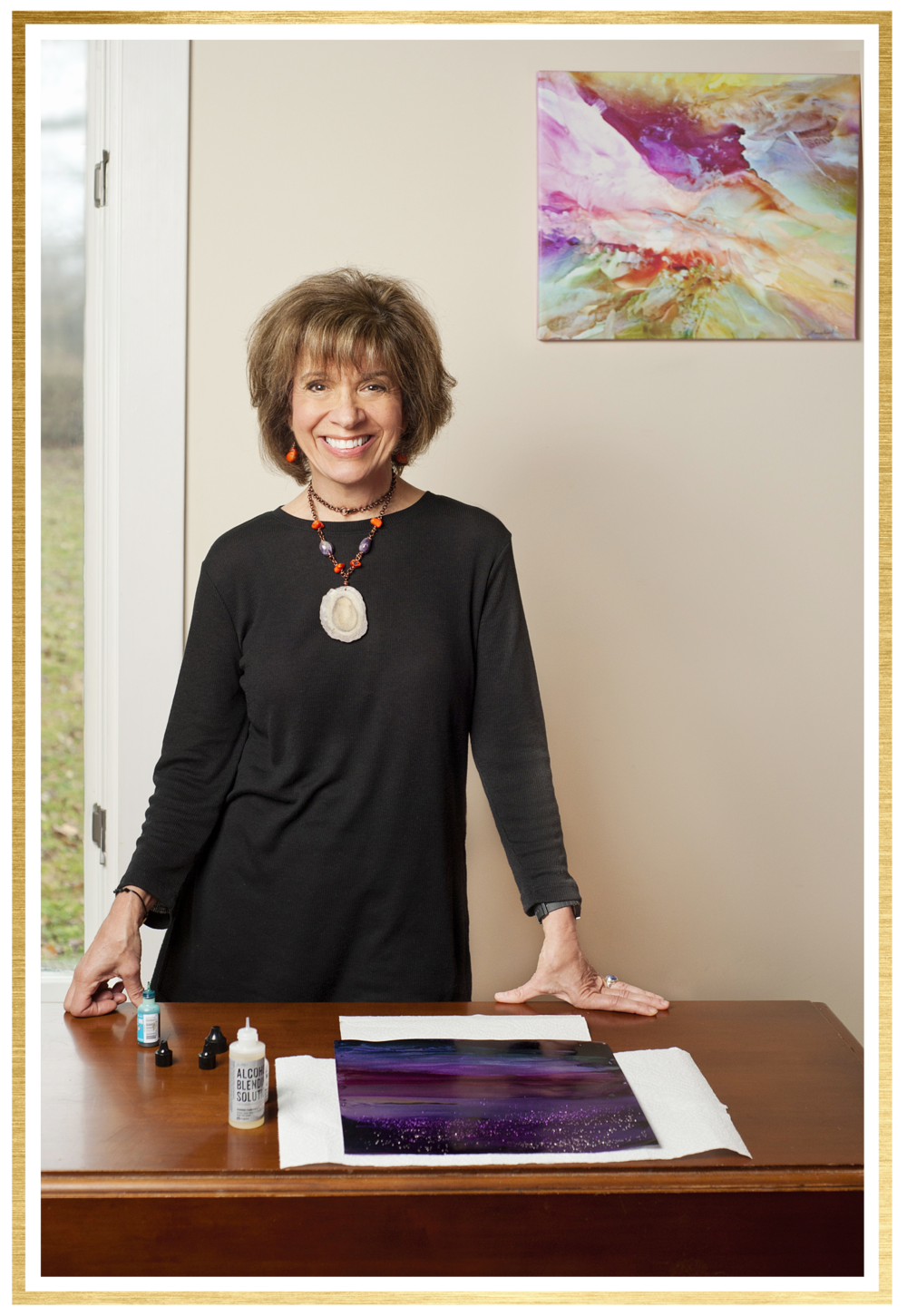 I'm Alexis Bonavitacola. - I'm an artist, teacher, entrepreneur, and passionate human being dedicated to leading a purposeful life.I specialize in abstract art, especially the energy, motion, and flow of alcohol inks. I have 20 years as an educator, hold a Ph.D in education, love teaching students of all levels, and taking my art to new levels.I believe in the value of sharing our talents and giving back to inspire others to grow.I adore alcohol inks. If you are here with me, you love them as well as I do or you want to learn more about how to learn to go with the flow.