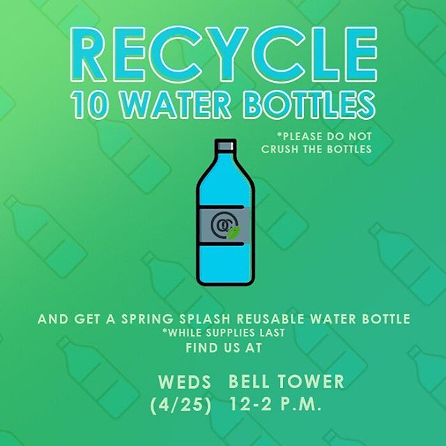 Save the environment with ASPB! 💦 As part of our Q4C initiative, bring 10 empty UNCRUSHED water bottles to the bell tower tomorrow for a SPRING SPLASH reusable water bottle 💦