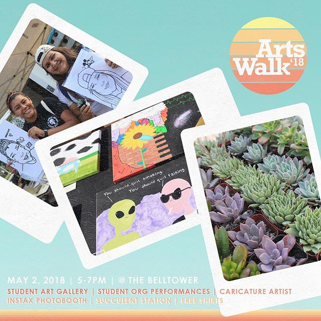 Make sure you stop by the BellTower on May 2nd from 5-7pm for Arts Walk 2018! Not only will we be displaying student art but we will be providing a variety of other attractions and DIY stations as well! Take a cute Instax photo, get your own personalized caricature, and take home a succulent! 🖌🎨🌵 ‪If you'd like to showcase your art, apply by tomorrow, 5pm! ‬Link in our highlights.