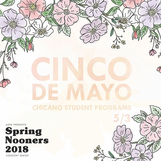 Make sure to stop by the BellTower this Wednesday at 12-2pm for Chicano Student Programs' Cinco de Mayo Nooner!! Enjoy performances from Mariachi Azetecas de Oro and Ballet Folklorico 💃🎻🎺