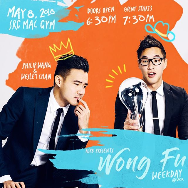 Nbd, it's just Wong Fu Production coming to give a lecture at UCR 😉 ——————— Come through to the SRC Mac Gym in a lecture with Wong Fu Production's Wesley Chan 🤠and Philip Wang👑! May 8th, doors open 6:30 PM and event starts at 7:30 PM. More information on ticket reservation TBA!