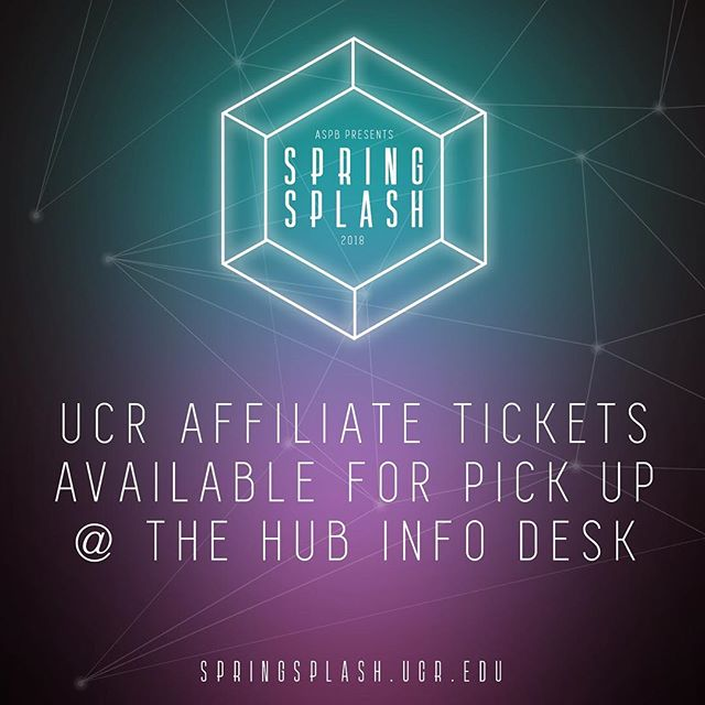 To collect your Spring Splash 2018 UCR Affiliate ticket(s), bring your order confirmation and your valid R'card to the HUB Info Desk from 9AM to 5PM starting today, May 1st, through May 11th!