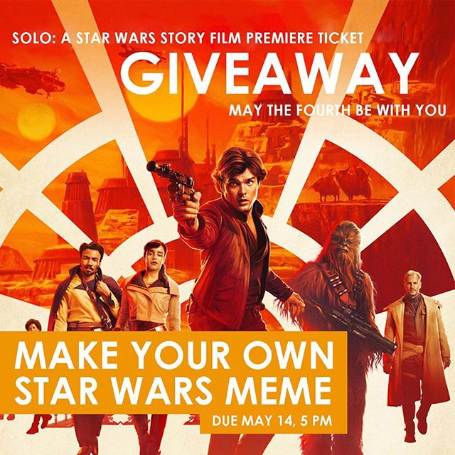 MAY THE FOURTH BE WITH YOU‼️ ASPB is giving out a pair of tickets for our film premiere on May 24th, Solo: A Star Wars Story!! 😉 To enter our giveaway, post your own Star Wars meme or gif with #ASPBSoloGiveaway and tag @aspb_ucr by May 14th, 5pm