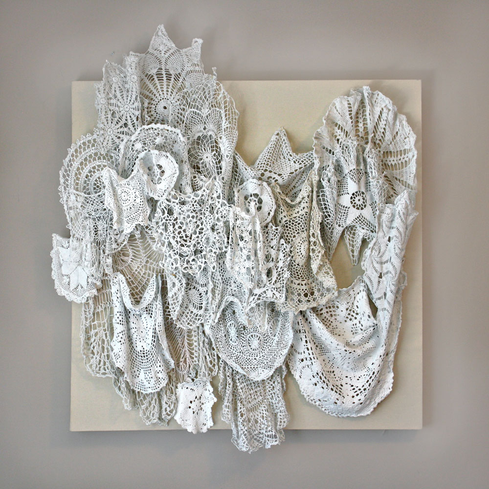 10 lbs of Memory  (2011). Crocheted Doilies, Gesso, Thread on Canvas. 38 x 42 inches.