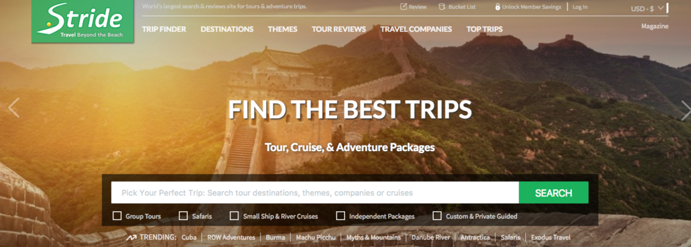 Stride Travel website