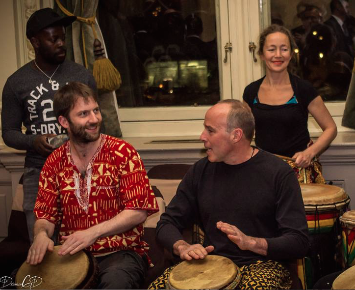 Fred plays djembe with West African drum and dance groups  Sankofa Beats  (pictured) and  Waa Sylla .