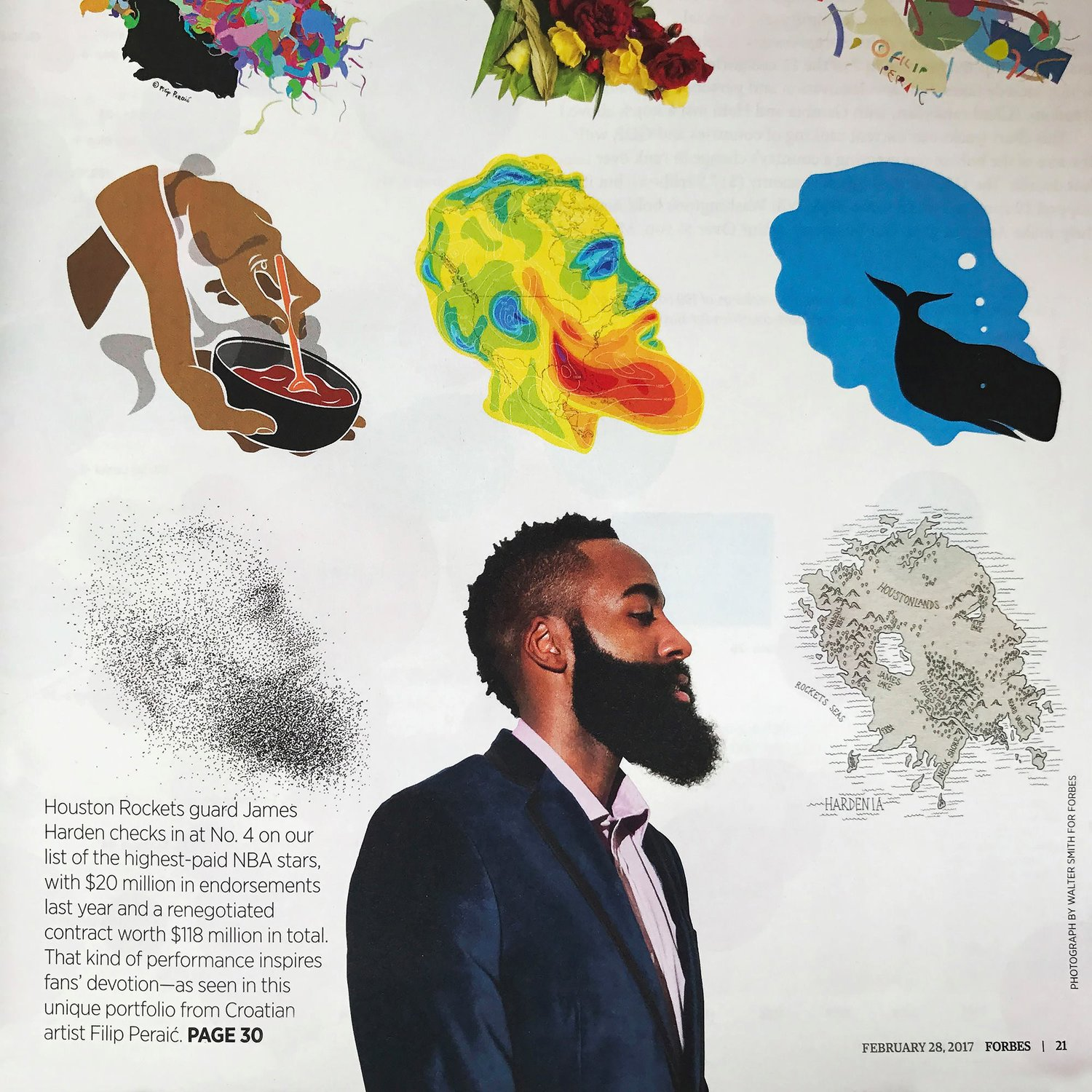 eef94eb716d Full page feature in Forbes magazine — James Harden Illustrated