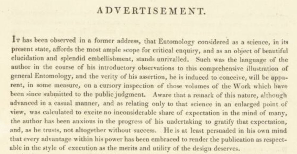 Donovan, 1805 -first paragraph of the 2-page 'Advertisement' … introduction or foreword, in modern language.