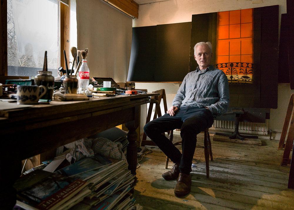 Hugh Buchanan, Artist in his Studio