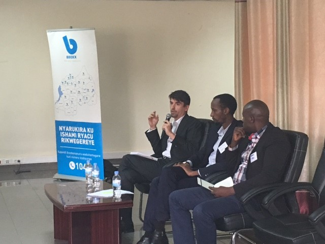 From the left:Simon Rolland, Country Project Manager at Energising Development (EnDev) Rwanda, spoke about the work EnDev are doing with the private sector to support off-grid electrification; BBOXX Rwanda Managing Director Justus Mucyo and EDCL-REG Morris Kayitare.