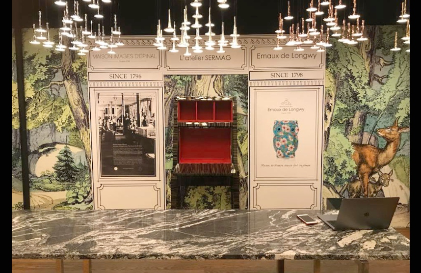 Maison Images d'Epinal stand in showroom in NYC