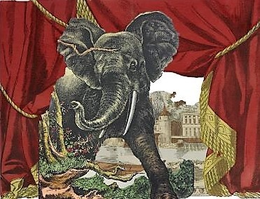 Work in progress. When a 19th theater curtain meets an elephant. Our archives live their own lives at night ;-))
