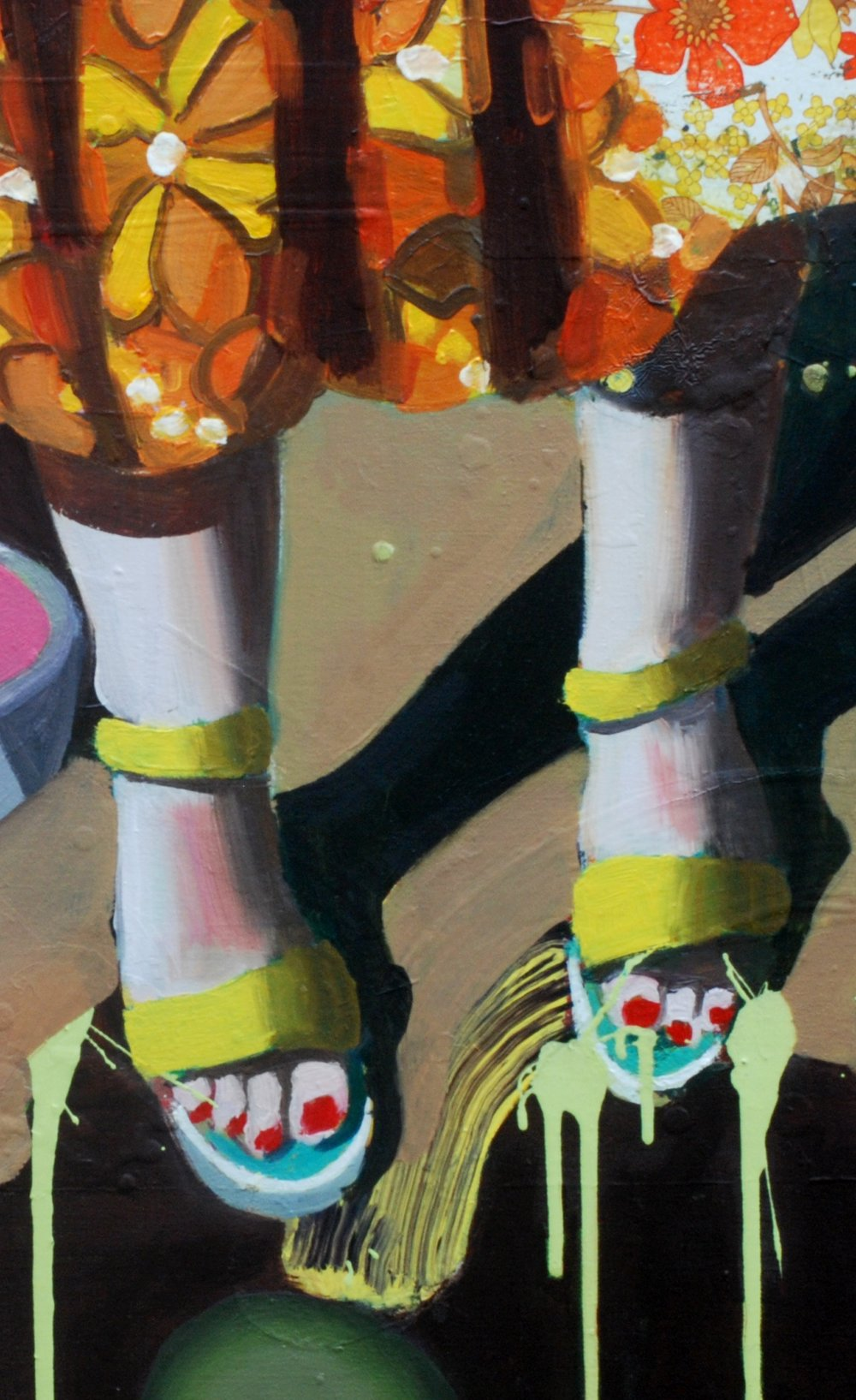 Jake Clark, Yellow Sandals, 2016, Oil and vinyl on canvas © Jake Clark, Courtesy of Collyder Bristow Gallery, London