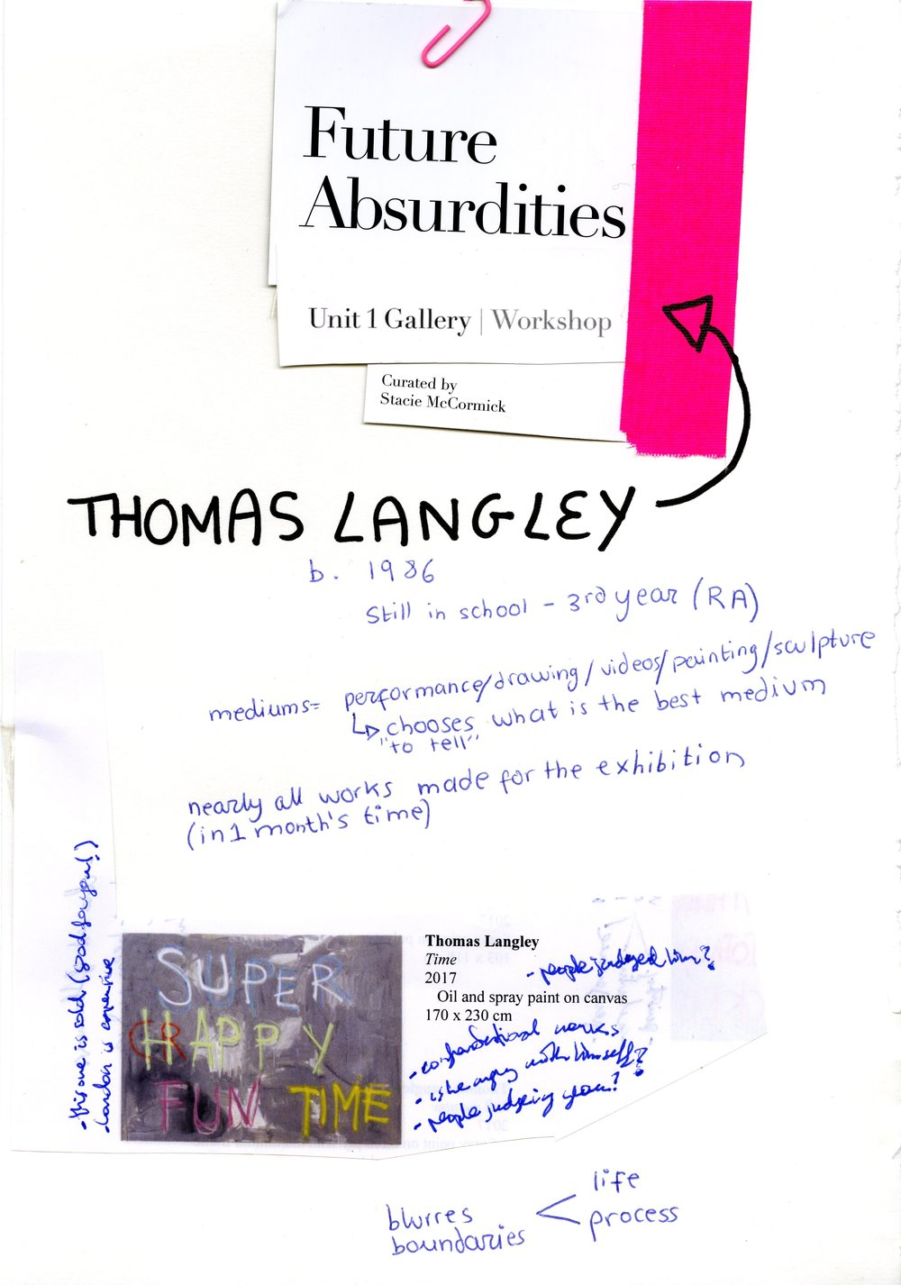 Thomas Langley, Future Absutdities, Unit 1 Gallery Workshop by dateagleart