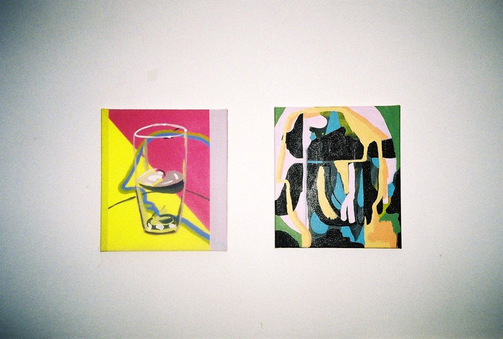 Morgan Wills,L - Glass (after Sickert), R - Head in Profile (abstract), both acrylic on canvas | Photography by Delilah Olson -
