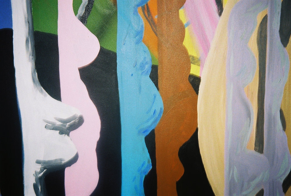 Morgan Wills,Figures (after Rebecca Warren), acrylic on canvas (detail)| Photography by Delilah Olson -