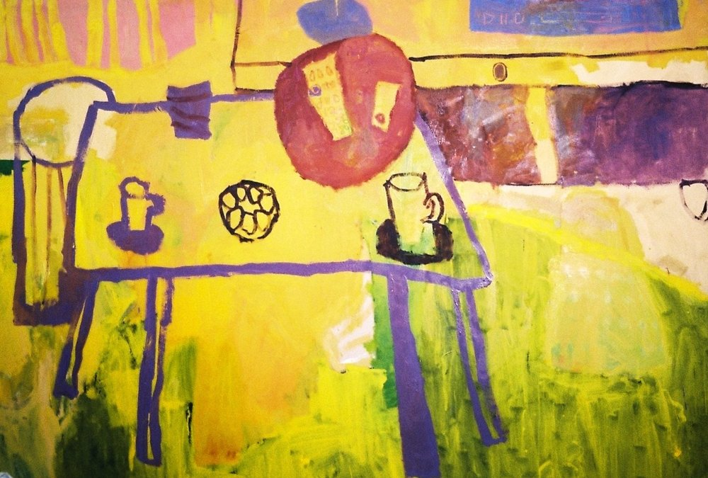 Florence Hutchings,The Yellow Table 2017, painting on canvas (detail)| Photography by Delilah Olson -