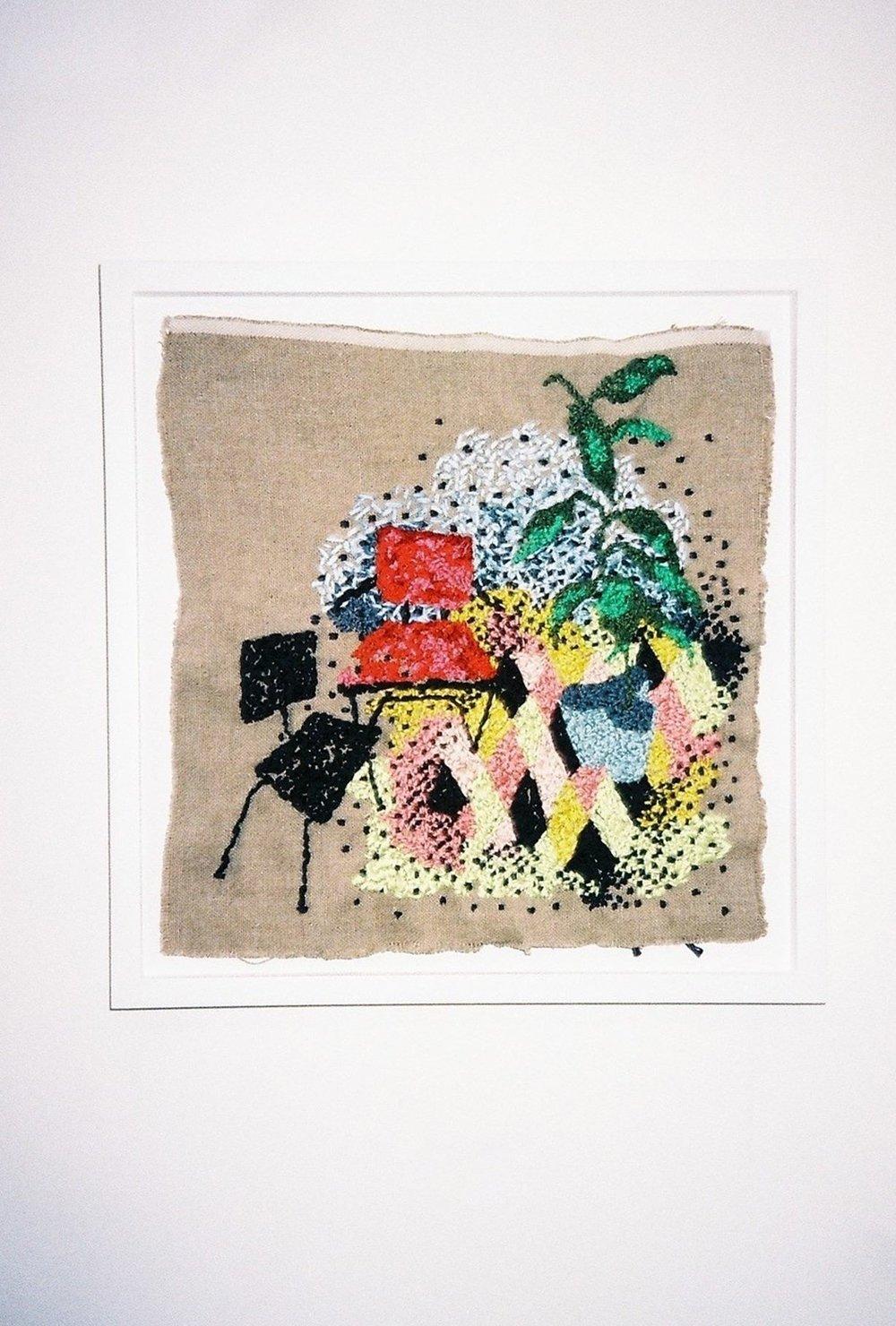 Sara Berman, Argyle floor Tapestry. Assorted threads on linen 37cm by 37cm framed | Photography by Delilah Olson -