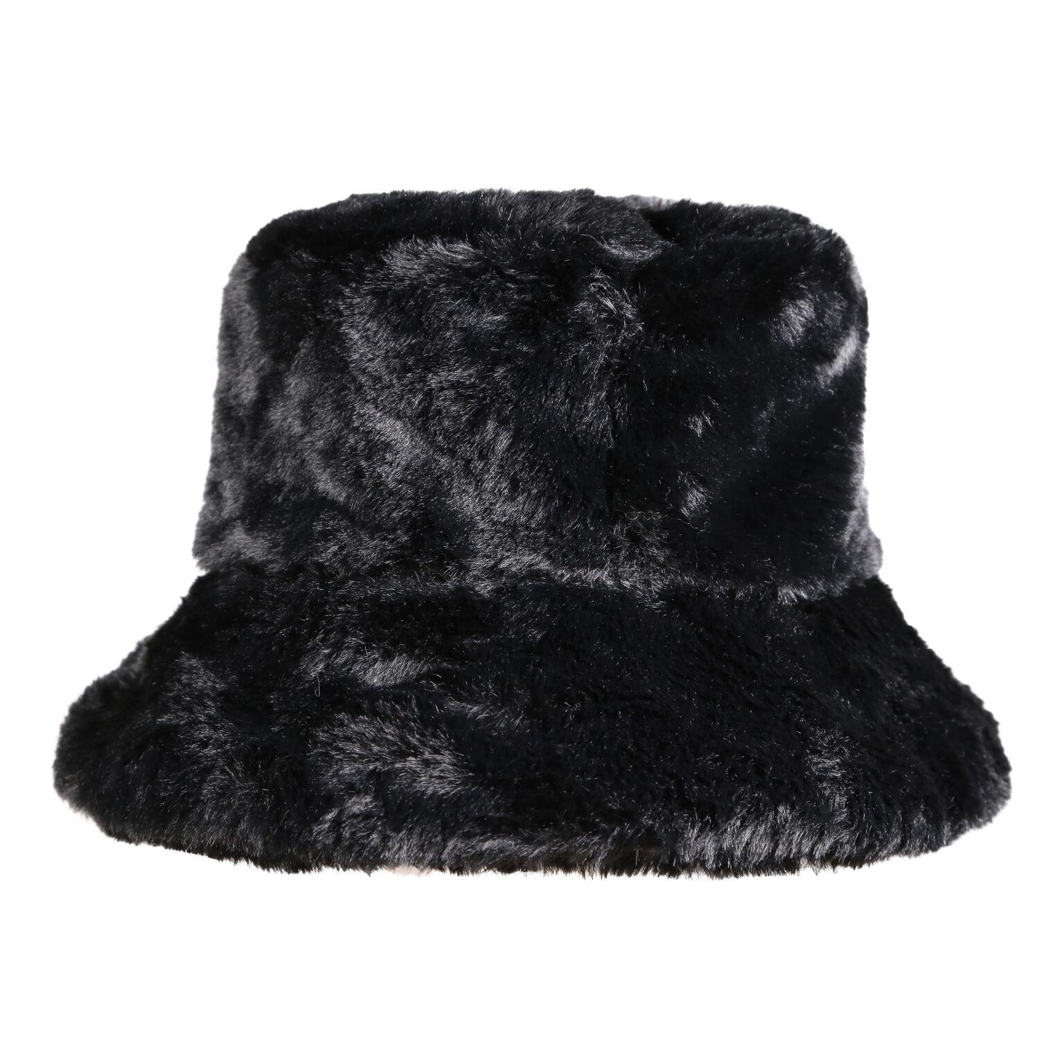 4d948723b2c Faux Fur Bucket Hat in Black — My Accessories London