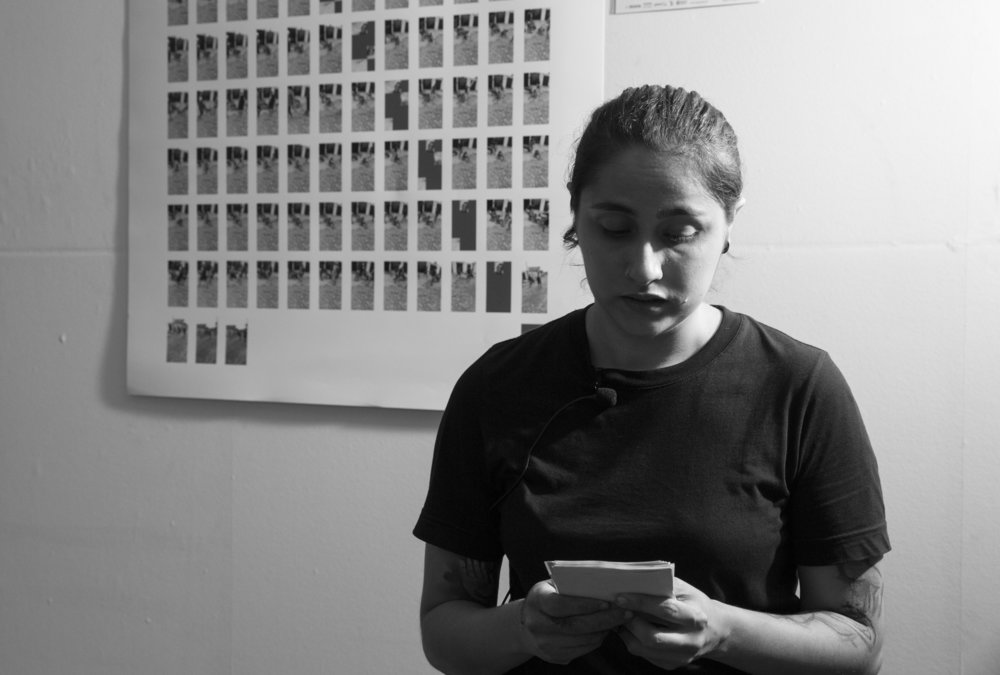 Performance piece -  Nayara narrating the names and the causes of death of all 136 transgender people who died in Brazil victims of transphobia.
