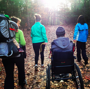 Our second time out on the trails (TerraTrek Chair, Ropes, man- (and baby-) power.  Kelly, Caitlin, Cara, Ry, Carrie and Parker at Harold Parker Forest, October 2014
