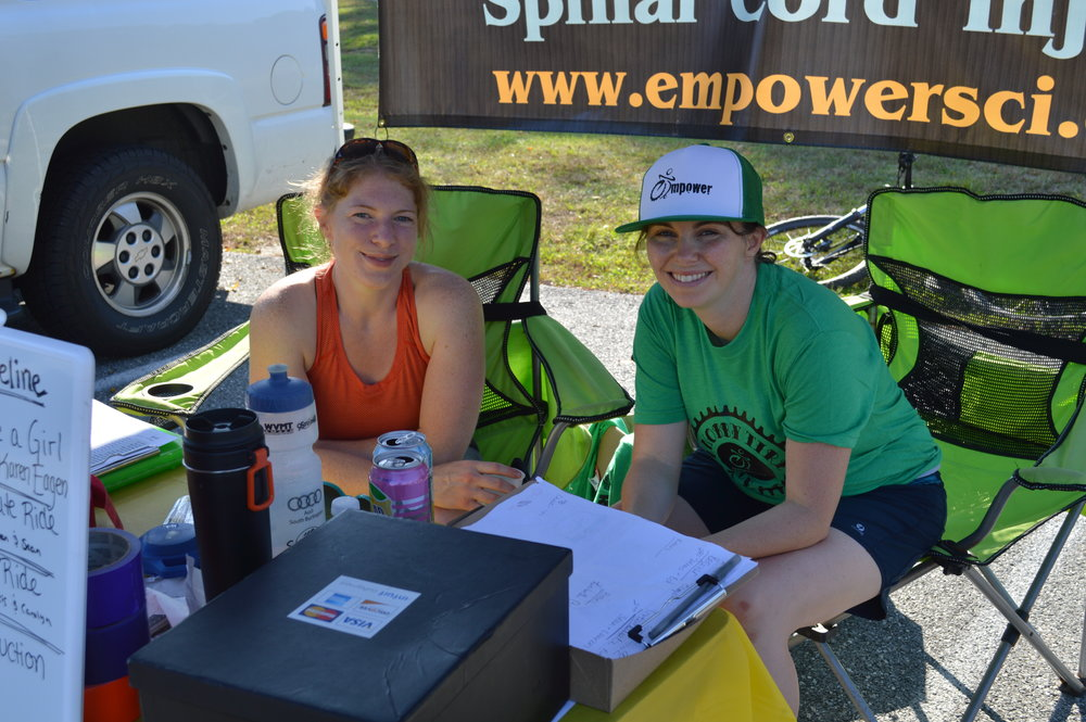 Kelly and Amy, two of our Knobby Tire Leaders at the registration table