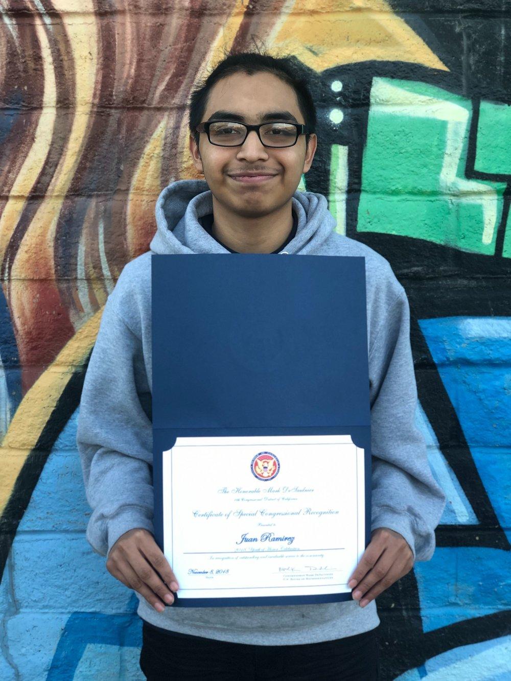 Youth of Honor Awardee: Juan Ramirez