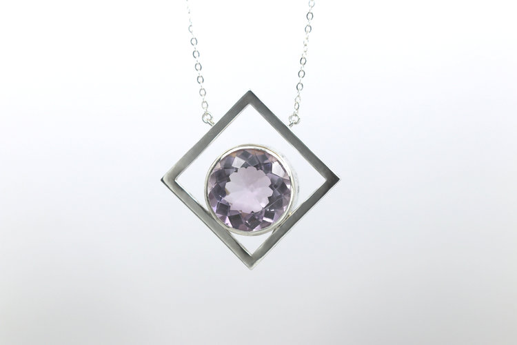 Round pink amethyst diamond shaped pendant lbee designs bespoke round pink amethyst diamond shaped pendant aloadofball Image collections